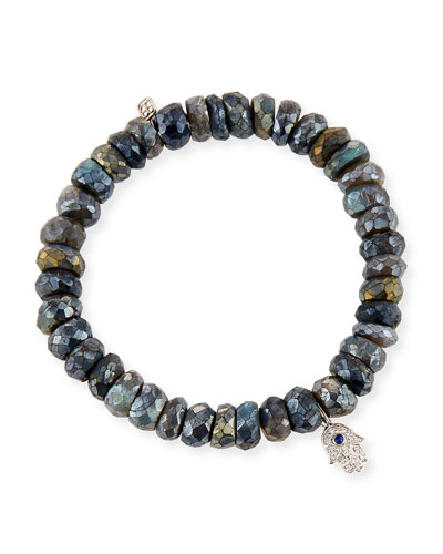 8mm Labradorite Beaded Bracelet with Diamond & Sapphire Hamsa Charm