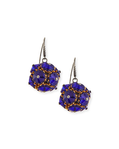 Floral Ball Drop Earrings, Blue
