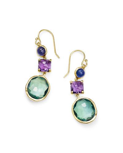 18K Rock Candy 3-Stone Drop Earrings in Purple/Green