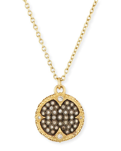 Old World Pavé Diamond Disc Pendant Necklace