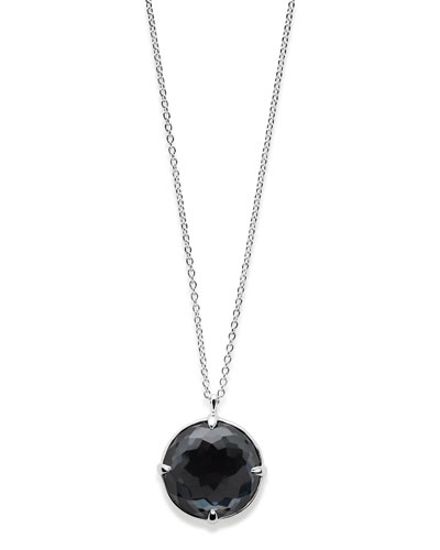Rock Candy Silver Pendant Necklace in Hematite Doublet, 31