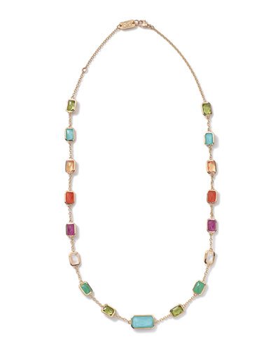 18k Gold Rock Candy Multi-Stone Necklace, 18
