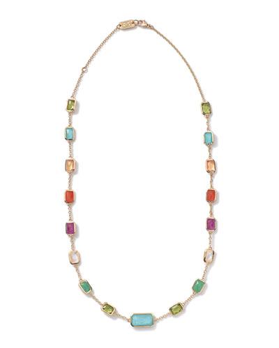 18k Gold Rock Candy Multi-Stone Necklace, 18