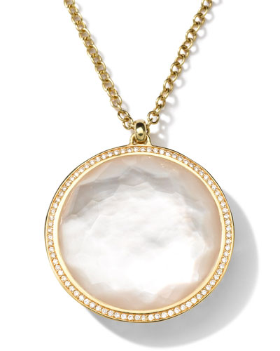18K Gold Rock Candy Large Lollipop Necklace in Doublet & Diamonds