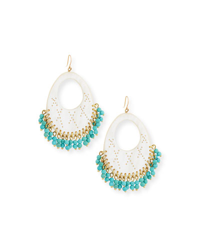 Vuka Turquoise Beaded Earrings, Light Horn