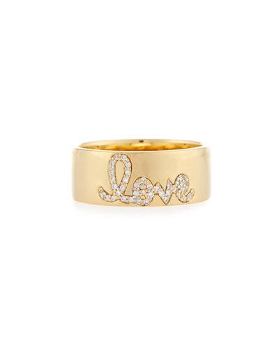 Pavé Diamond Love Ring, Size 6.5