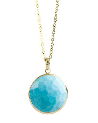18k Gold Rock Candy Lollipop Pendant Necklace in Turquoise