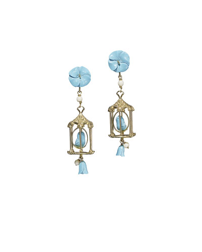 Pagoda Turquoise Drop Earrings