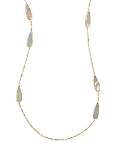 18K Polished Rock Candy Mother-of-Pearl Station Necklace