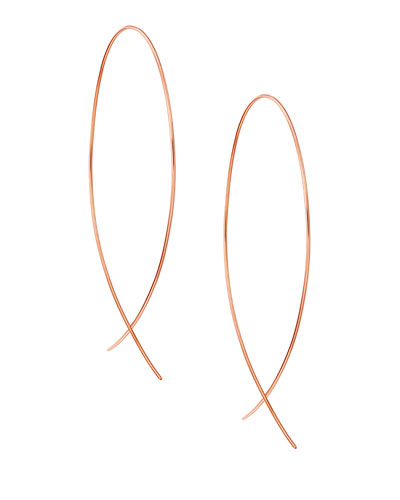 Large Upside Down Hoop Earrings in 14K Rose Gold