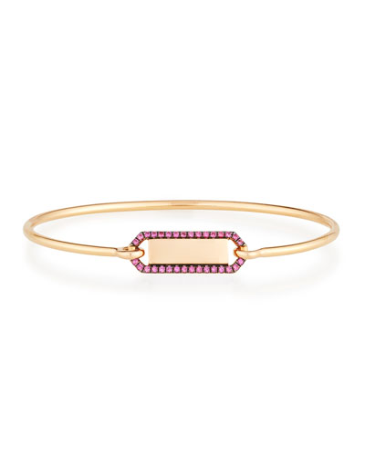 Personalized Prive Rectangle Bangle with Rubies in 18K Rose Gold