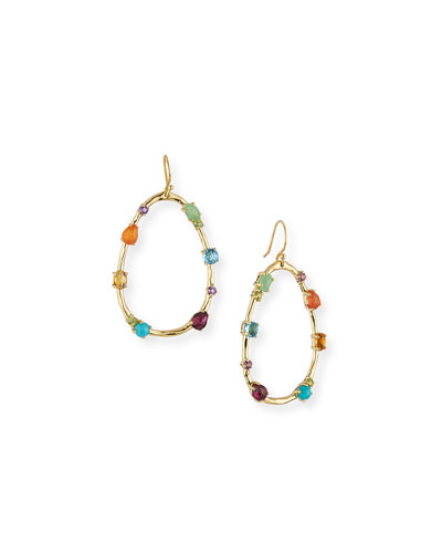 18k Rock Candy Large Multi-Stone Teardrop Earrings in Rainbow