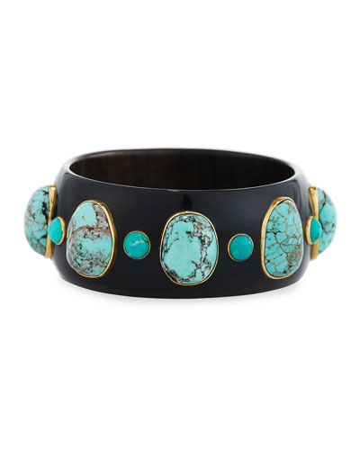 Michezo Turquoise-Studded Dark Horn Bangle