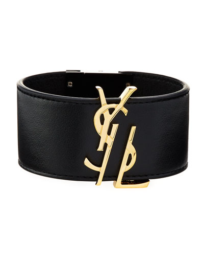 YSL Leather Cuff Bracelet, Black