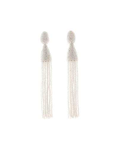 Long Beaded Tassel Clip-On Earrings, White