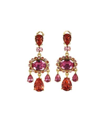 Bold Teardrop Crystal Clip-On Earrings, Pink