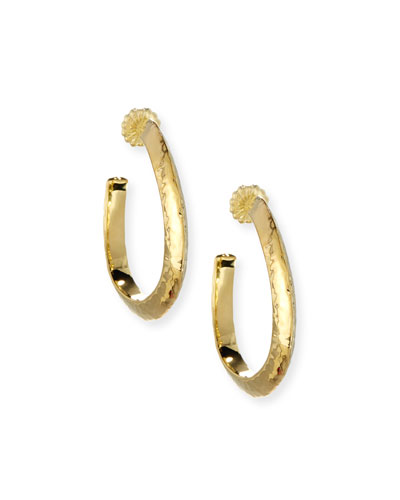 18K Classico Medium Hammered Wavy Hoop Earrings