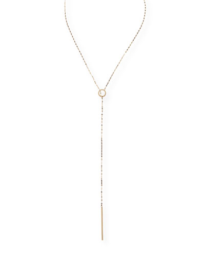 Bond 14K Long Circle Lariat Necklace
