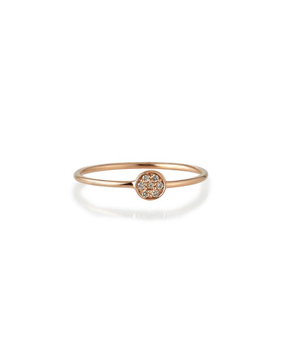 Rose Gold Pave Diamond Disc Ring, Size 6
