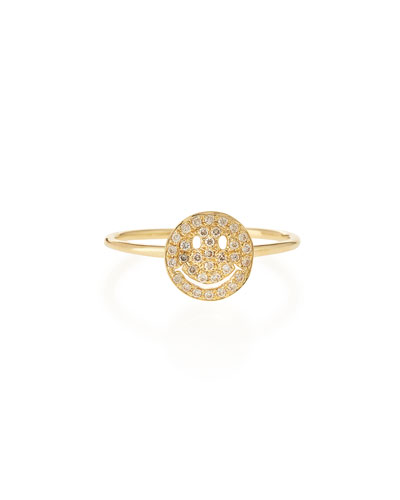 14k Gold Happy Face Diamond Ring, Size 6.5