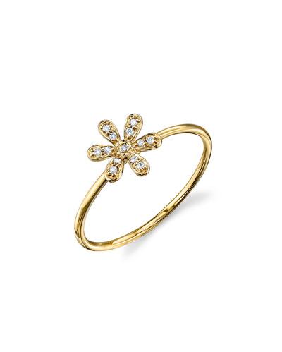 14k Diamond Flower Ring, Size 6.5