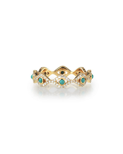 Turquoise Cabochon & Diamond Evil Eye Eternity Ring