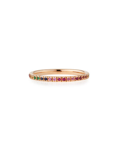 14k Rose Gold Rainbow Ring