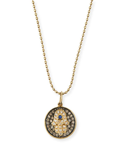 Small Diamond Hamsa Necklace w/Blue Sapphire