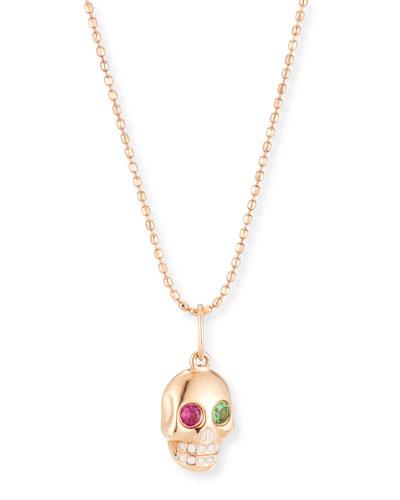 Mini Ruby & Garnet Skull Pendant Necklace