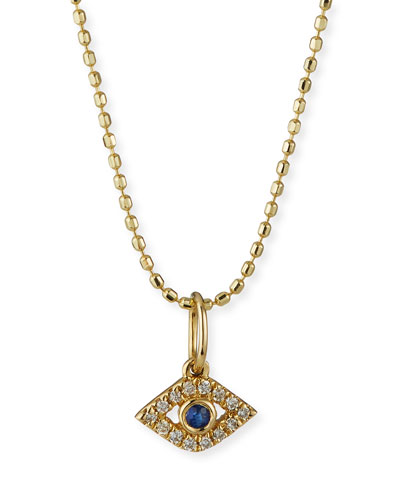 14k Gold Tiny Evil Eye Charm Necklace