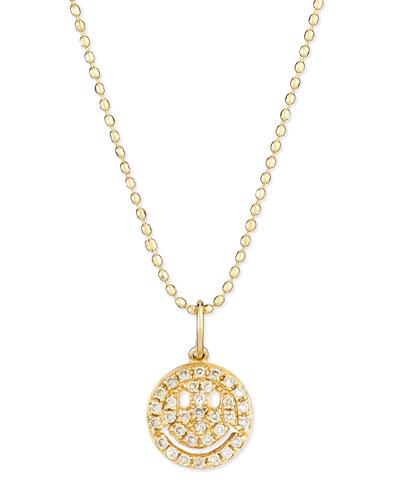 14k Gold Diamond Happy Face Pendant Necklace
