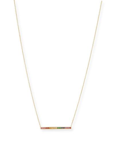 Rainbow Sapphire Bar Pendant Necklace