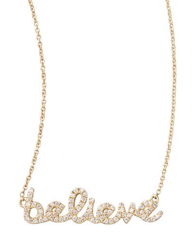 Diamond Believe Necklace, Yellow Gold