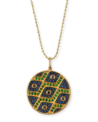 Multi-Eye Black Diamond & Sapphire Medallion Necklace