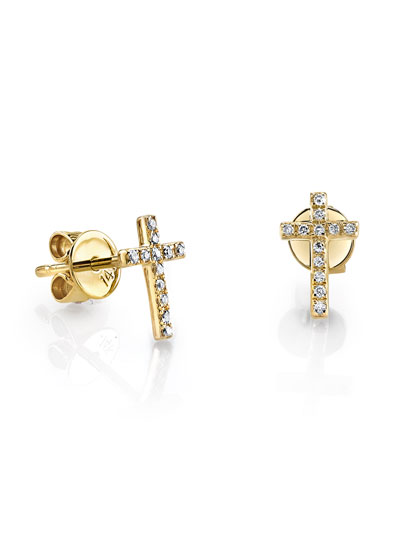 14k Gold Diamond Cross Single Stud Earring