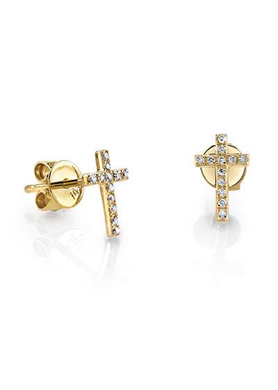14k Gold Diamond Cross Single Stud Earring