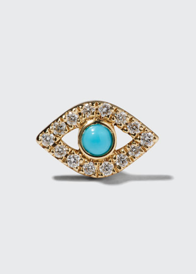 Small Turquoise Cabochon & Diamond Evil Eye Single Earring