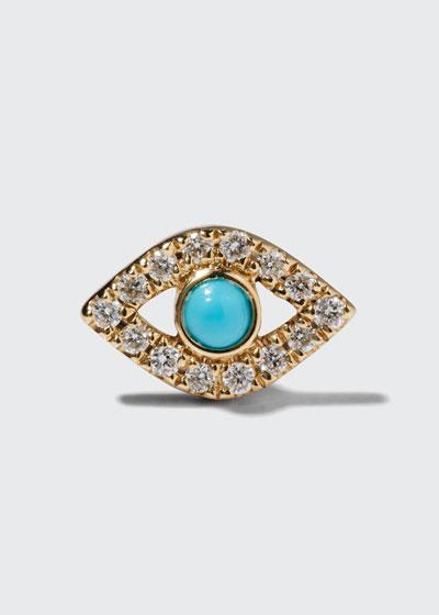 Small Turquoise Cabochon & Diamond Evil Eye Single Earring