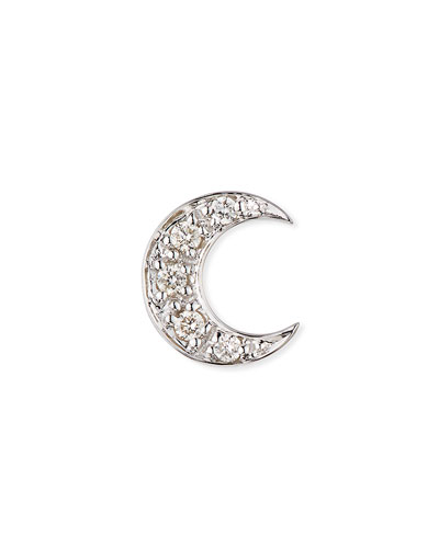 c3a5dae63 14k Pave Diamond Crescent Moon Single Stud Earring