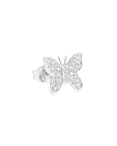 Mini Butterfly Stud Earring with Diamonds
