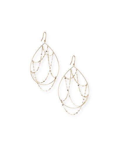 14k Gold Oval Web Earrings