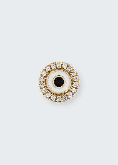 Enamel Evil Eye Diamond Disc Single Stud Earring