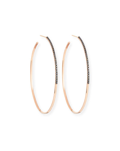 Reckless Vol. 2 Large Femme Hoop Earrings with Black Diamonds in 14K Rose Gold