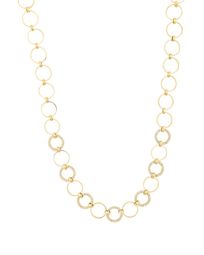 Multi Circle Necklace with Diamonds in 14K Gold