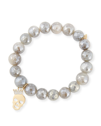 10mm Mystic Gray Moonstone Bracelet with Diamond Skull Charm