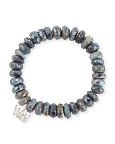10mm Labradorite Beaded Bracelet with Diamond Crown Charm