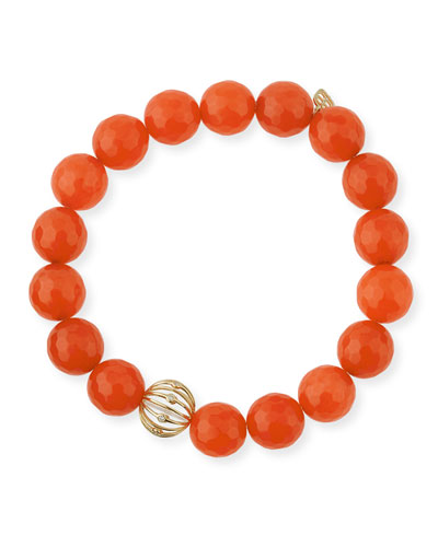 Orange Agate Beaded Bracelet with Diamond Bezel Ball