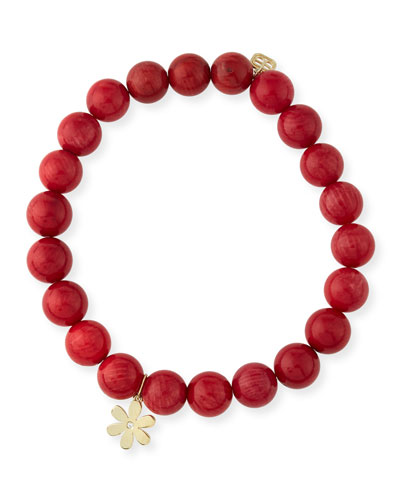 8mm Red Coral Beaded Bracelet with Diamond Daisy Charm