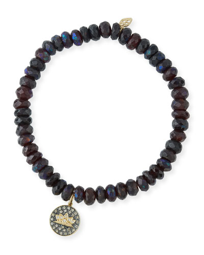 Faceted Garnet Beaded Bracelet with Diamond Lotus Charm