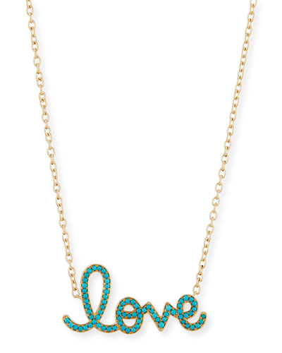 XL Turquoise Yellow Love Necklace in 14K Gold